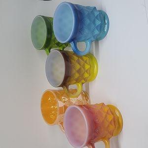 🌈Vintage Fire King Anchor Hocking set of colorful mugs